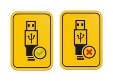 USB доступный и знак USB доступный желтый Стоковое Изображение