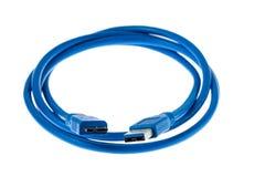 USB 3在白色背景隔绝的数据&电缆 ?? 库存图片