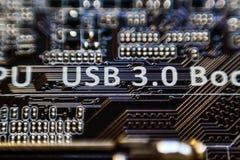 0 3 usb 在主板微芯片电路的0题字 库存照片