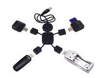 USB 2.0 Hub  in the form of the little man. With gadgets on a white background Stock Photos