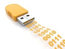 USB 3D flitsaandrijving. De gegevens van de overdracht. op wit Stock Afbeelding