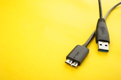 0 3 usb 0缆绳 库存图片