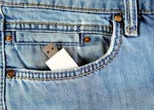 在口袋的USB闪光 免版税库存图片