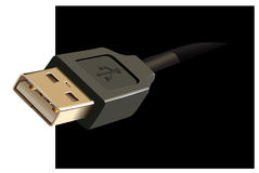 Usb. Black cable. Vector illustration Royalty Free Stock Image