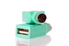 USB al adaptador de enchufe PS2 fotos de archivo libres de regalías