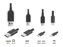 USB all type. Top and perspective 3D view USB type A, B and type C plugs, micro, lightning, universal computer cable connectors, vector illustration royalty free illustration