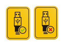 USB available and USB not available yellow signs Stock Image