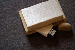 Usb błysku przejażdżka z drewnianą powierzchnią w pudełku dla USB portu przenośnego komputerowego laptopu dla przeniesienie dane  Obraz Stock