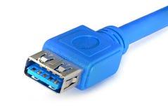 0 usb 3 0 blåa kabel isoleras på vit bakgrund arkivfoton