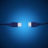 usb bleu de câble Photographie stock libre de droits