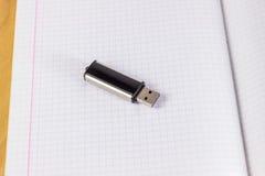 USB-Blitz-Antrieb auf einem Blatt in einem Käfig Lizenzfreie Stockbilder