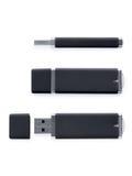 USB-Blitz-Antrieb in drei verschiedenen Positionen Lizenzfreies Stockbild