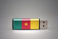 Usb-Blitz-Antrieb mit der Staatsflagge von Cameroon auf grauem Hintergrund Lizenzfreie Stockfotografie