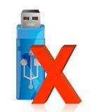USB-Blitz-Antrieb mit ZUSAMMENBRUCH-Zeichen. Lizenzfreie Stockbilder