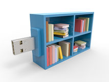 USB Bookshelf Flash Drive. Blue plastic flash pen stick with bookshelf,  on white background. 3D Render graphic Stock Photo