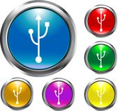 USB Buttons. These are USB Buttons in assorted colors Stock Images