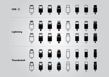 USB-C, Blitz- und Blitzikonensatz Lizenzfreies Stockbild