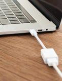 USB-c kabel förbinder till bärbar datordatoren Royaltyfri Bild