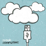 Usb cabel and clouds icons Royalty Free Stock Photos
