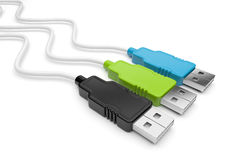 USB cable 3d.  on white background Stock Photos