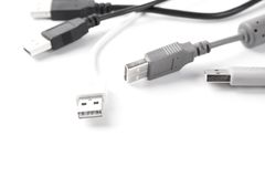 Usb cable. Some usb cable on white background Royalty Free Stock Photo