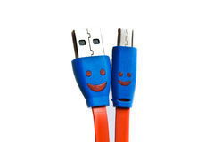 USB cable or cord for charging. Stock Photos