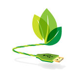 USB cable with eco concept. USB cable with green eco concept stock illustration