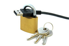 USB cable, lock and keys Stock Images