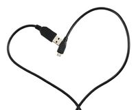USB cable shaped as a heart Stock Photos