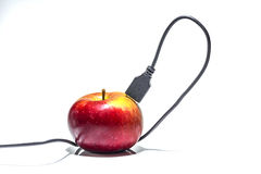 Usb cable. Stuck in an apple stock photo