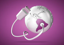 USB cable supplies data to South America on pink background. Concept for how the world uses data via their devices for social media and downloading vector illustration