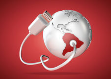 USB cable supplies data to South America on red background. Concept for how the world uses data via their devices for social media and downloading vector illustration