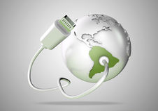 USB cable supplies data to South America on white background. Concept for how the world uses data via their devices for social media and downloading stock illustration