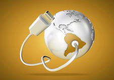 USB cable supplies data to South America on yellow background. Concept for how the world uses data via their devices for social media and downloading royalty free illustration