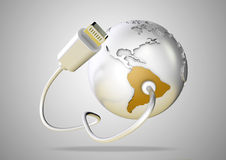USB cable supplies data to yellow South America on white backgro. Und. Concept for how the world uses data via their devices for social media and downloading vector illustration