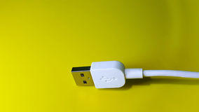 Usb cable. White USB cable Royalty Free Stock Images