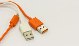USB cables for charger or connection different technology devices Royalty Free Stock Image