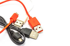 USB cables for charger or connection different technology devices Stock Photography