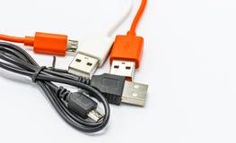 USB cabografa para dispositivos diferentes da tecnologia do carregador ou da conexão Imagem de Stock