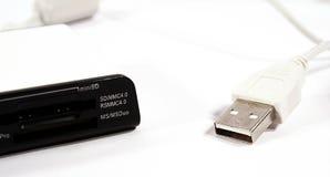 Usb card reader. A white usb multi card reader Stock Photo