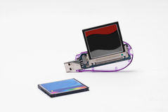 Usb card reader. For cf memory cards Stock Photo