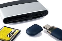 Usb card reader with usb pen Stock Photography