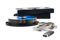 USB, CD, VHS Stockbild