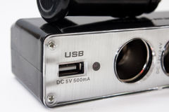 USB and cigarette lighter socket for the car Royalty Free Stock Photos