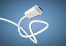 USB computer plug data cable at camera with large depth of field Royalty Free Stock Photo