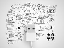 Usb conect with business strategy. On a white background Royalty Free Stock Photography