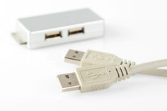USB connection cable and adapter Royalty Free Stock Photo