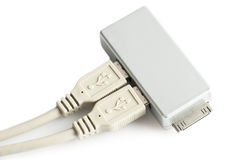 USB connection cable and adapter Stock Photo
