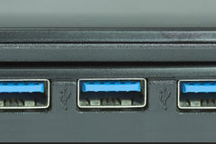 Usb connection port selective focus Stock Photos