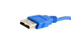 USB Connector and Cable. A USB - Universal Serial Bus connector (type A) and cable royalty free stock photography